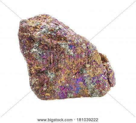Multicolored specimen of Chalcopyrite mineral isolated on white background; macro shooting of collection natural rock