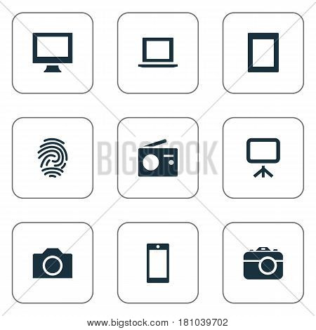 Vector Illustration Set Of Simple Gadget Icons. Elements Touch Computer, Tuner, Laptop And Other Synonyms Touch, Mobile And Thumbprint.