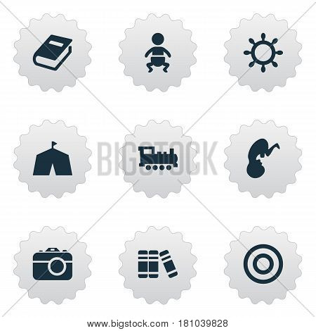 Vector Illustration Set Of Simple Baby Icons. Elements Tent, Train, Board And Other Synonyms Book, Show And Kid.