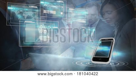 Digital composite of Digitally generated image of smart phone and panels with business people in office