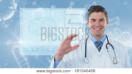 Digital composite of Digitally generated image of male doctor with various organism and brain vector in background