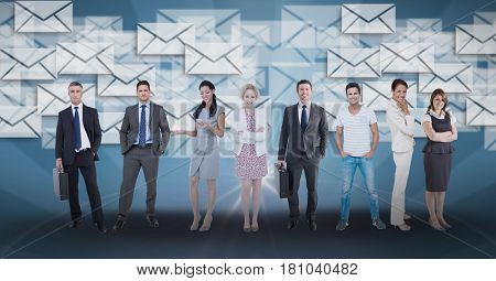 Digital composite of Digitally generated image of business people standing against envelope icons in background