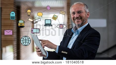 Digital composite of Digitally generated image of various icons with businessman using digital tablet in office