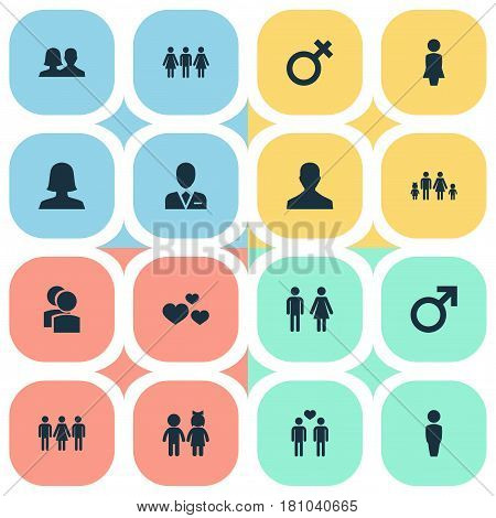Vector Illustration Set Of Simple  Icons. Elements Madame, Lineage, Woman And Other Synonyms Homosexual, Children And Beloveds.