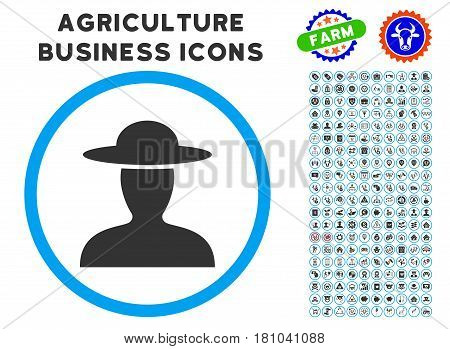 Farmer Person rounded icon with agriculture commercial glyph clipart. Vector illustration style is a flat iconic symbol inside a circle, blue and gray colors. Designed for web and software interfaces.