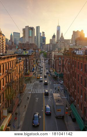 Chinatown at sunset in New York USA