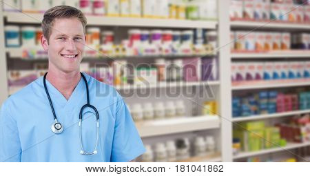 Digital composite of Portrait of happy male doctor at pharmacy