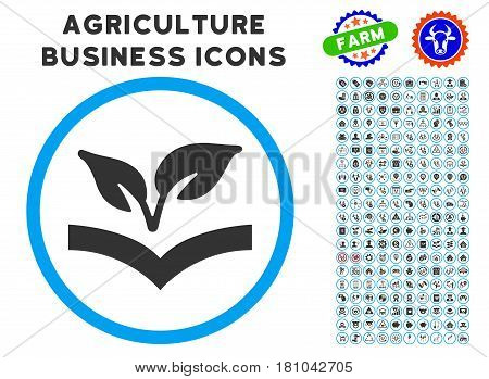 Flora Knowledge rounded icon with agriculture business glyph collection. Vector illustration style is a flat iconic symbol inside a circle, blue and gray colors.