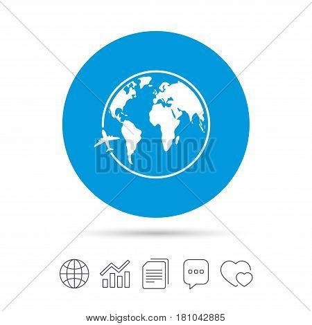 Airplane sign icon. Travel trip round the world symbol. Copy files, chat speech bubble and chart web icons. Vector