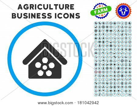 Flower Orangery rounded icon with agriculture commercial glyph set. Vector illustration style is a flat iconic symbol inside a circle, blue and gray colors. Designed for web and software interfaces.