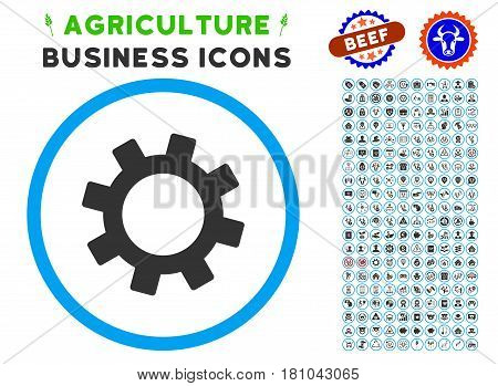 Gear rounded icon with agriculture business glyph kit. Vector illustration style is a flat iconic symbol inside a circle, blue and gray colors. Designed for web and software interfaces.