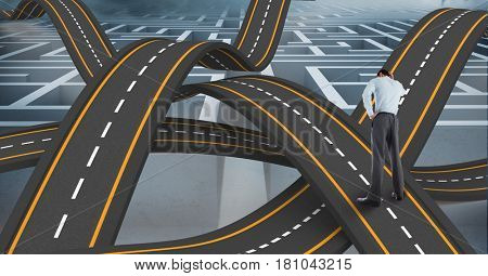 Digital composite of Digitally generated image of confused businessman standing on wavy road in sky