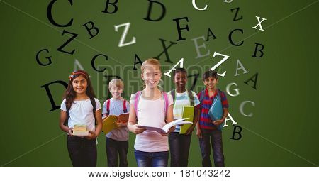 Digital composite of Digitally generated image of children holding books with letters flying against green background