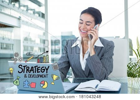 Digital composite of Digitally generated image of businesswoman using mobile phone and laptop with strategy diagram in of