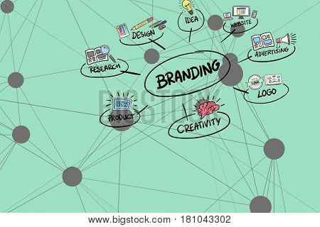 Digital composite of Digitally generated image of branding diagram against turquoise background