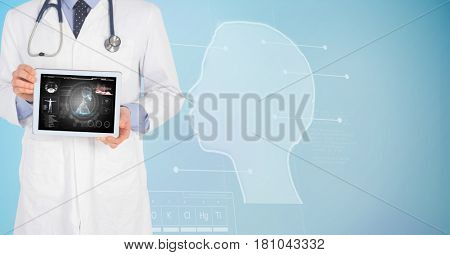 Digital composite of Digitally generated image of male doctor showing digital tablet with human face graphics in backgrou