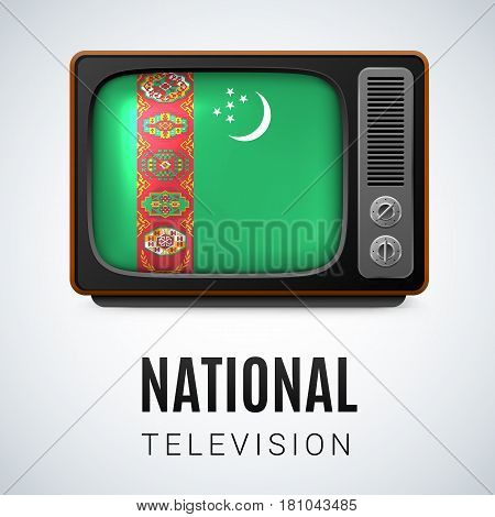 Vintage TV and Flag of Turkmenistan as Symbol National Television. Button with Turkmenian flag