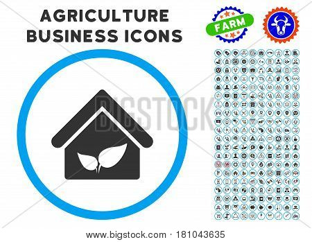 Greenhouse rounded icon with agriculture business icon clipart. Vector illustration style is a flat iconic symbol inside a circle, blue and gray colors. Designed for web and software interfaces. poster