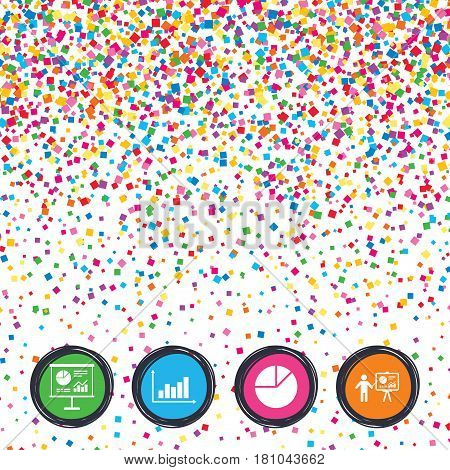 Web buttons on background of confetti. Diagram graph Pie chart icon. Presentation billboard symbol. Supply and demand. Man standing with pointer. Bright stylish design. Vector