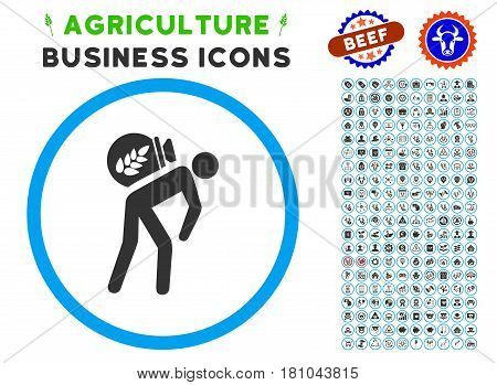 Harvest Porter rounded icon with agriculture commercial glyph kit. Vector illustration style is a flat iconic symbol inside a circle, blue and gray colors. Designed for web and software interfaces.