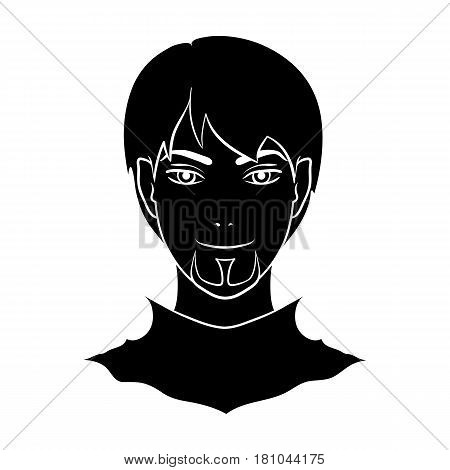 Avatar of a man with red eyes .Avatar and face single icon in black style vector symbol stock web illustration.