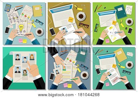 Job interview concept with business cv resume. Business set. Flat vector illustration