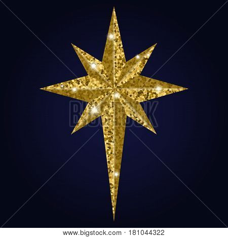 Bethlehem golden star isolated on background. Christmas Star symbol vector illustration. Many Christians see star as miraculous sign to mark birth of Christ