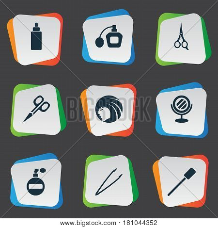 Vector Illustration Set Of Simple Beauty Icons. Elements Beauty, Eyelash Brush, Perfume And Other Synonyms Sprayer, Beautiful And Aroma.