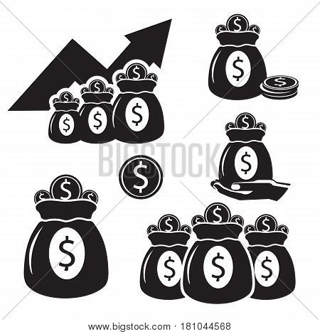 Silhouettes with bags of money with coins of gold isolated on white background. Sacks with charts arrow going up, bag on hand, savings in sack with dollar sign, monetary accessory vector illustration