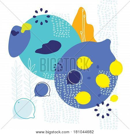 Seamless background pattern with lemons and abstract elements Vector illustration