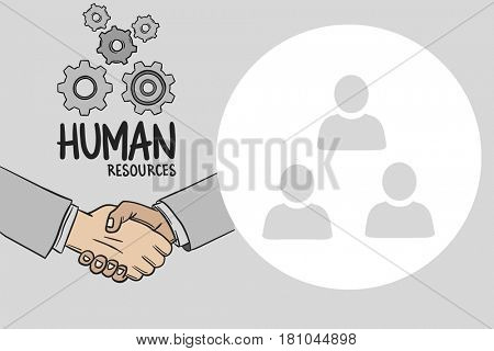 Digital composite of Digitally generated image of human handshake with various icons