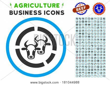 Livestock Diagram rounded icon with agriculture business icon pack. Vector illustration style is a flat iconic symbol inside a circle, blue and gray colors. Designed for web and software interfaces.