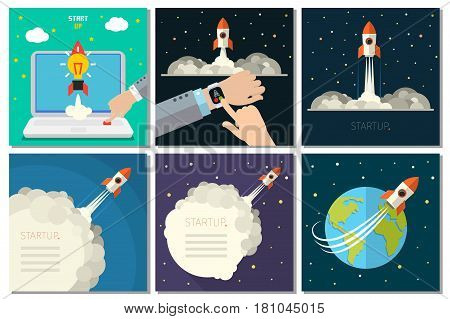 Modern vector illustration concept for new business project startup, launching new product or service. Business set. Flat design, vector illustration.