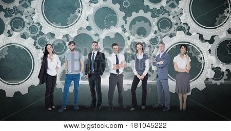 Digital composite of Digitally generated image of business people standing against gears in background