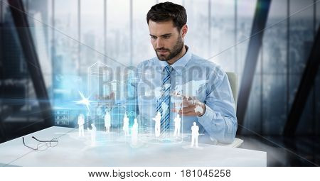 Digital composite of Digitally generated image of businessman examining employees and world map at desk in office