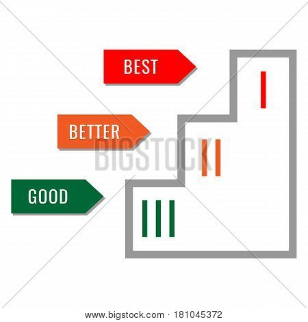 Piedestal with places marked, good better the best concept isolated on white. Winners podium icon. Prize ceremony pedestal sign. Colored flat web icon winning concept illustration