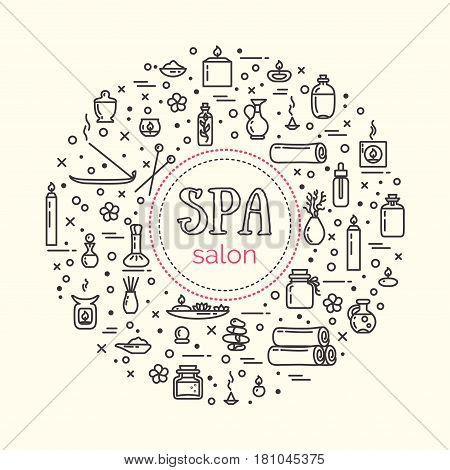 Vector illustration - SPA salon. Icons set and poster. EPS 10 Isolated objects