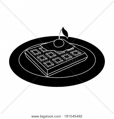Wafers with cherry syrup on a plate.The dark Belgian wolf. Belgium single icon in black style vector symbol stock web illustration.