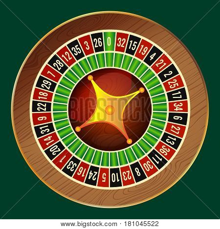 Colorful wheel of luck or fortune on green background. Vector illustration casino roulette, gambling concept, play for luck of fortune, betting for chance to win in realistic design