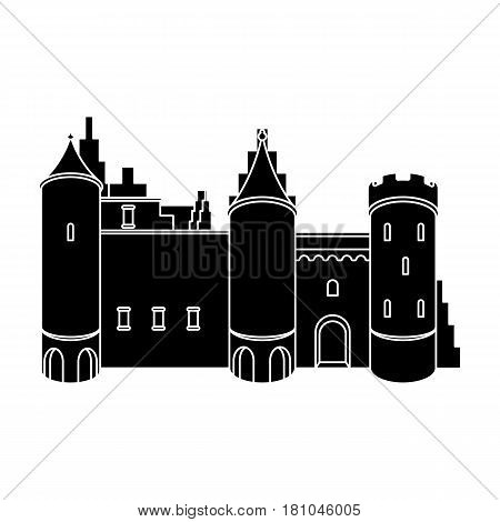 Protective Castle of belgium.The dark Belgian wolf. Belgium single icon in black style vector symbol stock web illustration.