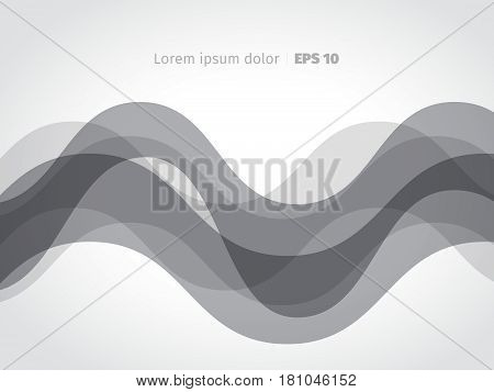 Technical abstract vector background with lines. Gray silver hi-tech motion waves. Monochrome concept dynamic banner.