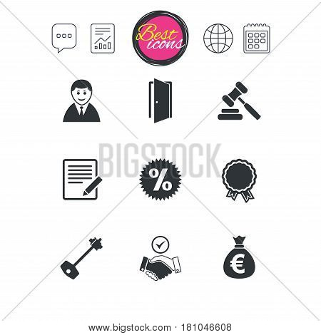 Chat speech bubble, report and calendar signs. Real estate, auction icons. Home key, discount and door signs. Business agent, award medal symbols. Classic simple flat web icons. Vector