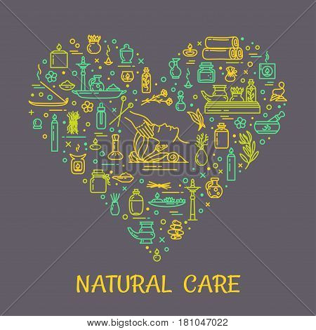 Vector illustration - Natural care. Icons set and poster. EPS 10 Isolated objects