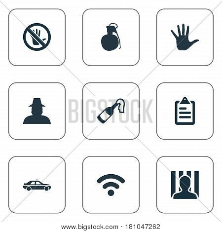 Vector Illustration Set Of Simple Offense Icons. Elements Internet, Touch Forbidden, Volunteer And Other Synonyms Police, Arm And Cocktail.