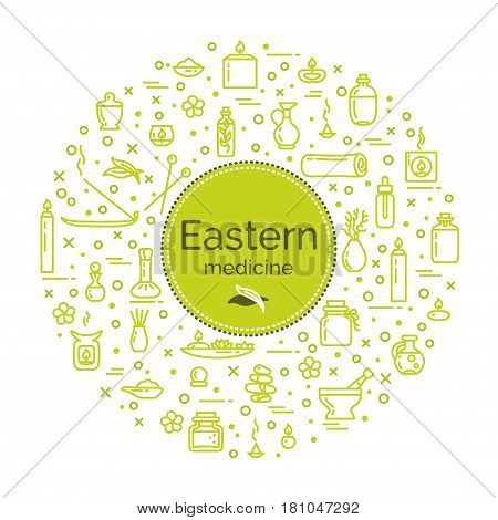 Vector illustration - Eastern medicine. Icons set and poster. EPS 10 Isolated objects