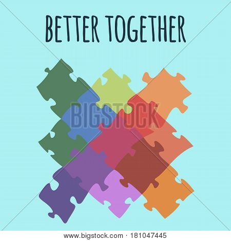 Better together logotype design made of puzzle vector colorful illustration isolated on white background. Puzzled cartoon elements, colorful unity symbol cross sign