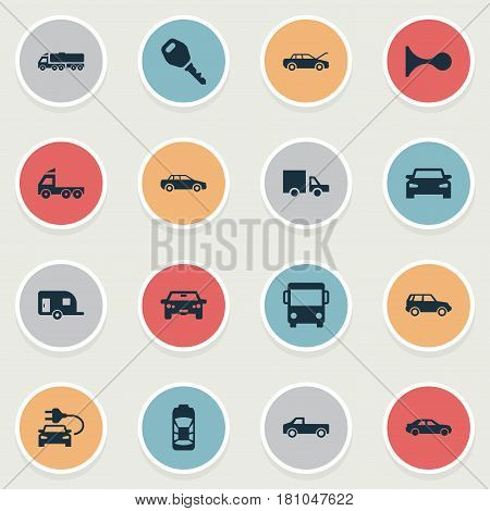 Vector Illustration Set Of Simple Automobile Icons. Elements Klaxon, Key, Camion And Other Synonyms Van, Klaxon And Mega.
