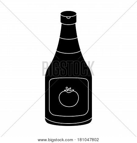 Bottle of ketchup.Burgers and ingredients single icon in black style vector symbol stock web illustration.