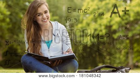 Digital composite of Digitally generated image of formulas with female college student in background
