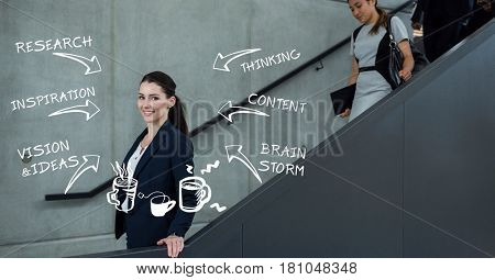 Digital composite of Digitally generated image of businesswoman on escalator with various text and symbols